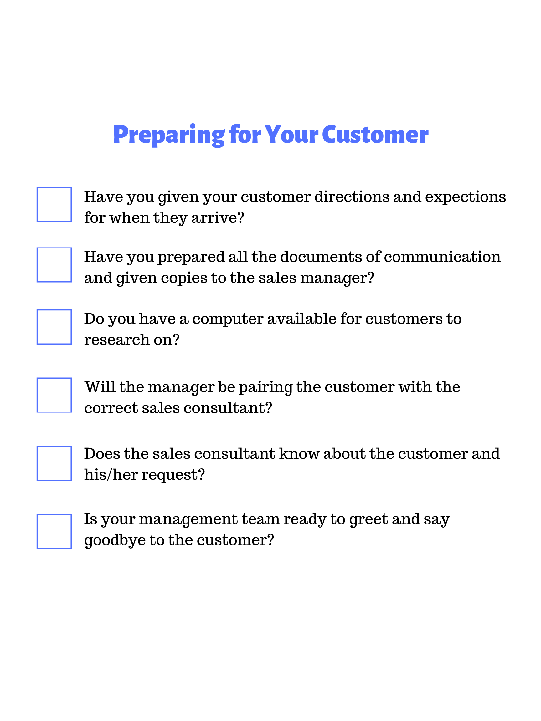 Preparing for Your Customer